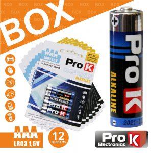 Box 12x Blisters 4x Pilhas Ultra Alcalina LR03/AAA 1.5v PROK - (BOXPKPA-AAA01)