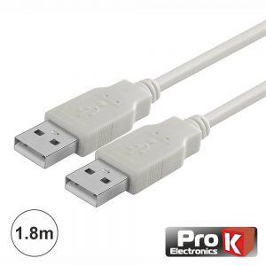 Cabo USB-A 2.0 Macho / USB-A Macho 1.8m PROK - (CUSB203/1.8W)