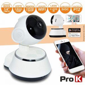 Câmara Vigilância Ip Cmos 720p Wifi Mic Ptz PROK - (CVCIP090LA)
