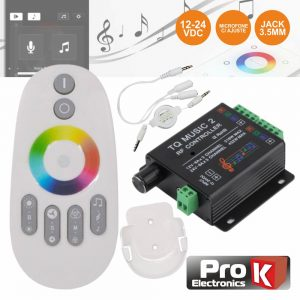 Controlador Som P/ Fita LEDS RGB 12V/24V C/Comando Rf PROK - (CFL23RGB12)