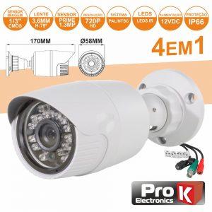 Câmara Vigilância 4in1 Analog/Ahd/Cvi/TVi 1.3mp Ip66 PROK - (CVC105LA)