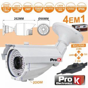 Câmara Vigilância 4in1 Ahd/Cvi/TVi/Cvbs 2mp Ip66 PROK - (CVC111LA)