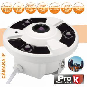 """Câmara Vigilância Ip Dome Cmos 720p 5mp Olho Peixe 1/3"""" PROK - (CVCIP004LA)"""