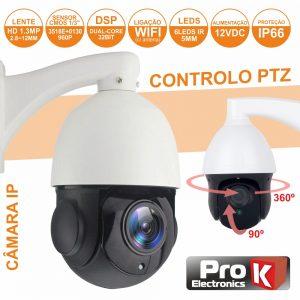 Câmara Vigilância Ip Cmos 960p 1.3mp Wifi Mic Ptz PROK - (CVCIP084LA)