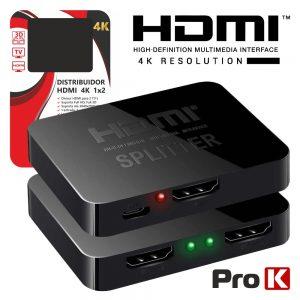 Distribuidor HDMI 1 Entrada 2 Saídas 4K PROK - (PK-HDMI1E2S4K)