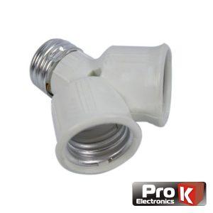 Casquilho Adaptador De E27 P/ 2x E27 PROK - (E27-2XE27)