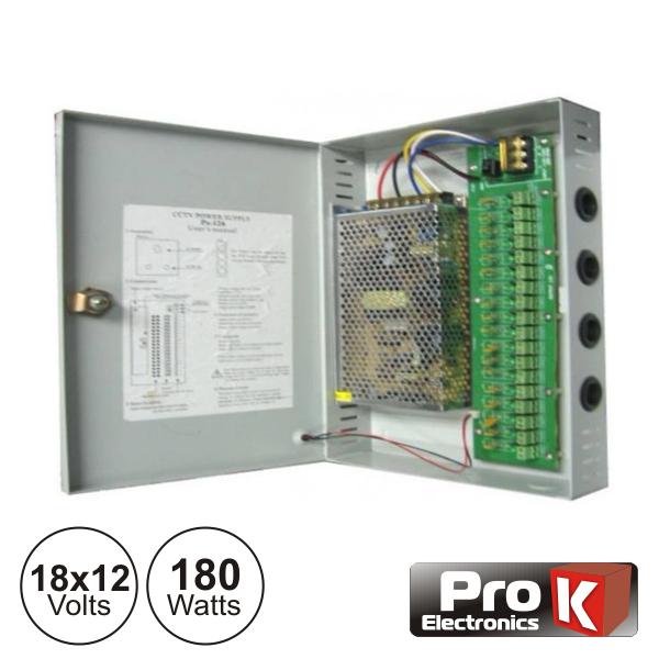 Fonte De Alimentação Industrial 18x12V 180W PROK - (FAI18X12V-15A)