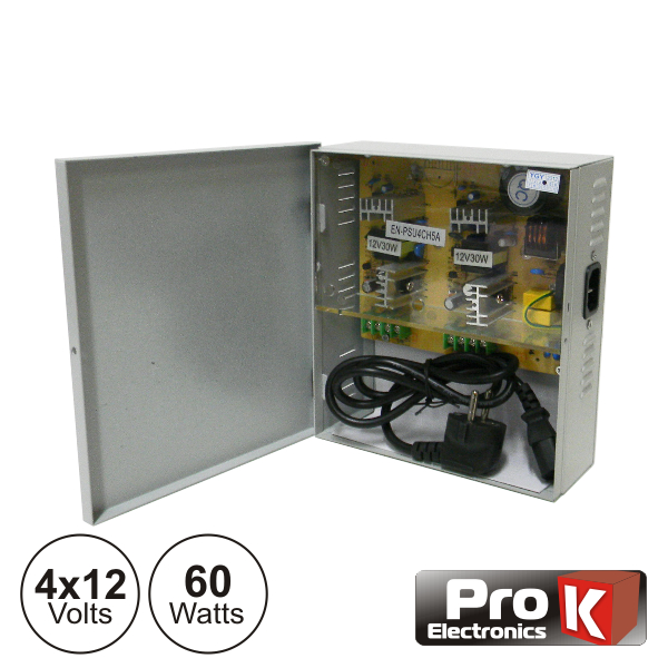 Fonte De Alimentação Industrial 4x12V 60W PROK - (FAI4X12V-5A)
