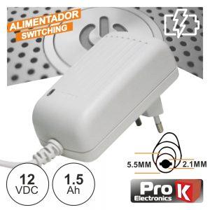 Alimentador Switching 12V 1.5A Branco PROK - (FAS12V1.5AW)