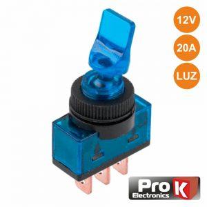 Interruptor Alavanca On-Off 20a/12V Luminoso Azul PROK - (ITR110BL)