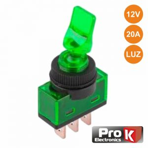 Interruptor Alavanca On-Off 20a/12V Luminoso Verde PROK - (ITR110GR)