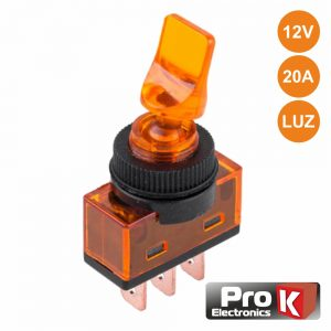 Interruptor Alavanca On-Off 20a/12V Luminoso Laranja PROK - (ITR110O)