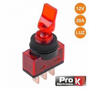 Interruptor Alavanca On-Off 20a/12V Luminoso Vermelho PROK - (ITR110R)