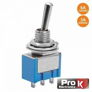 Interruptor Alavanca Miniatura On-Off-On PROK - (ITR205A(H))