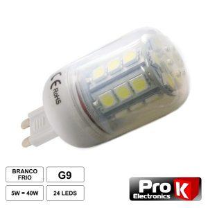 Lâmpada G9 5W 12V 24 LEDS SMD 5050 Branco Quente - (LLG902WW)