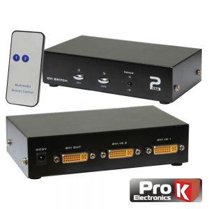 Distribuidor DVI-I Amplif. 2 Entrada 1 Saídas Comutador PROK - (PK-DVI2E1S-C)