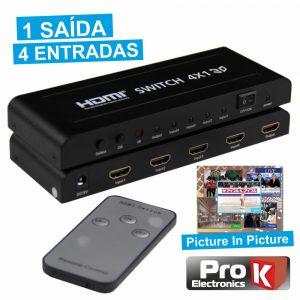 Distribuidor Comutador HDMI 4 Entradas 1 Saída Pip PROK - (PK-HDMI4E1S-C)