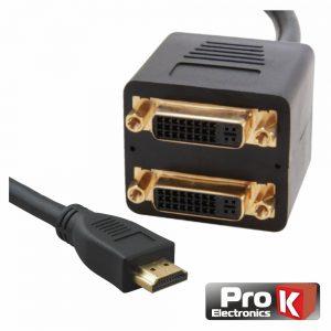 Adaptador 1 Entrada  HDMI /  2 Saídas DVI-I  PROK - (PK-HDMIDVI)