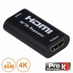Ficha Adaptadora HDMI Fêmea / Fêmea Dourada P/ 40m 4k PROK - (PK-HDMIHDMI02)