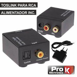 Conversor Áudio TOSLINK-RCA PROK - (PK-OPCOAX)