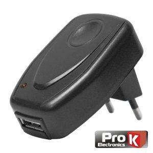 Alimentador Compacto Comutado 1 USB 5v 500ma Preto PROK - (PKAUS01E)