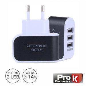 Alimentador Compacto Comutado 3 USB 5v 3.1A Branco PROK - (PKAUS02B)