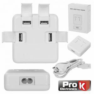 Alimentador Compacto Comutado 4 USB 5v 8a Branco PROK - (PKAUS04C)