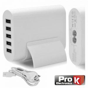 Alimentador Compacto 5 USB 5v 8a Branco PROK - (PKAUS05A)
