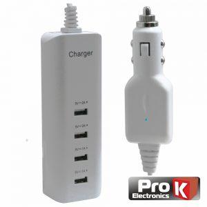 Alimentador Compacto Ficha Isqueiro 4 USB 5v 6a Branco PROK - (PKAUSCAR04A)