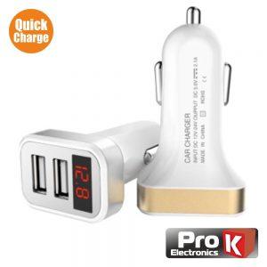 Adaptador Ficha Isqueiro Quick Charge3.0 2usb C/ Voltímetro - (PKAUSQC-VOLT1A)