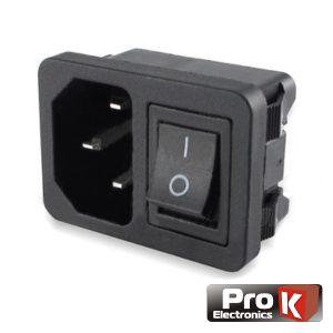 Ficha Alimentação Iec C14 Macho Painel C/ Interruptor PROK - (PKFAL010)