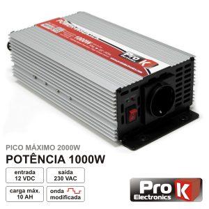 Conversor 12V-230V 1000W Onda Sinusoidal Modificada PROK - (PKI1000-12)