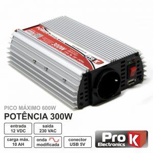 Conversor 12V-230V 300W Onda Sinusoidal Modificada PROK - (PKI300-12)
