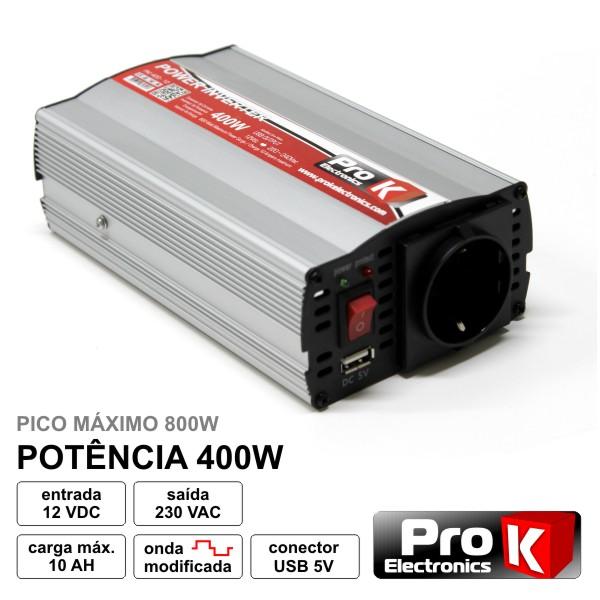 Conversor 12V-230V 400W Onda Sinusoidal Modificada PROK - (PKI400-12)