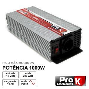 Conversor 12V-230V 1000W Onda Pura PROK - (PKIP1000-12)