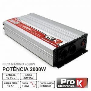 Conversor 12V-230V 2000W Onda Pura PROK - (PKIP2000-12)