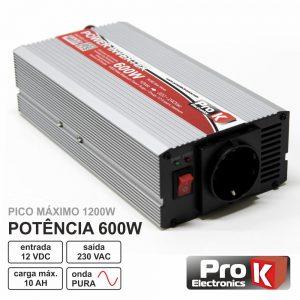 Conversor 12V-230V 600W Onda Sinusoidal Pura PROK - (PKIP600-12)