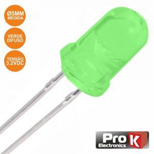LED 5mm Alto Brilho Verde Difuso PROK - (PKLD05G-D)