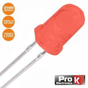 LED 5mm Alto Brilho Vermelho Difuso PROK - (PKLD05R-D)