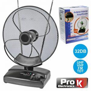 Antena Tdt Interior Amplificada 32db PROK - (PLUTAO)