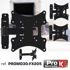 "Promo 3 Suportes Lcd/LED 12/37"" 1 Braço 200/200 35kg PROK - (PROMO30-FX205)"