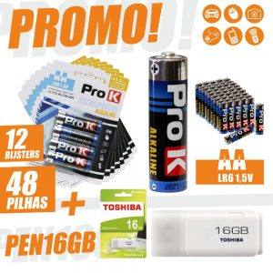 Promo 12x Blisters 4 Pilhas Ultra Alcalina LR6/AA + Pen16g - (PROMOAA+PEN16GB)