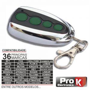 Comando Garagem Universal 4 Canais Rolling Code PROK - (VIPOPEN4/RC4)